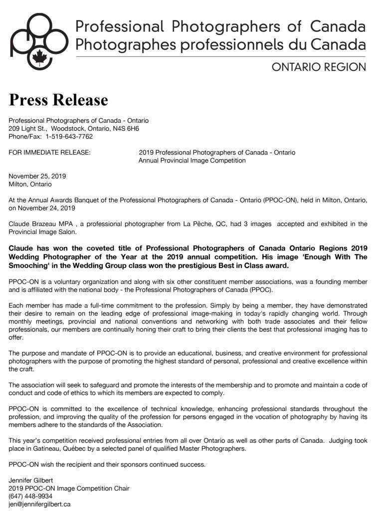 Press release ppoc Ontario 2019